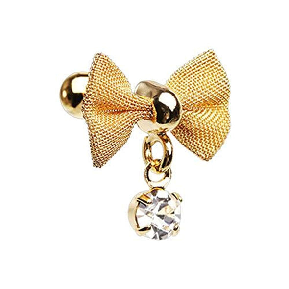 Golden Dainty Mesh Bow Gem Cartilage WildKlass Tragus Earring-WildKlass Jewelry