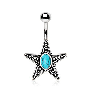 316L Stainless Steel Antique Star With Turquoise Stone Inlay WildKlass Navel Ring-WildKlass Jewelry