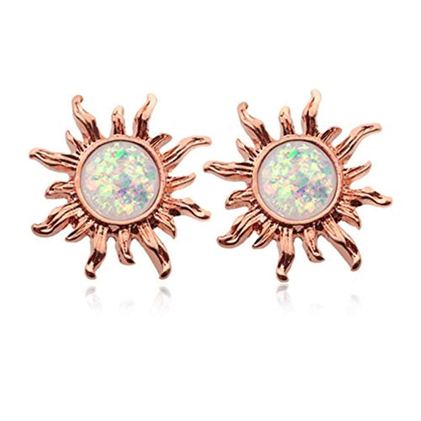 Rose Gold Opal Sun WildKlass Ear Stud Earrings-WildKlass Jewelry