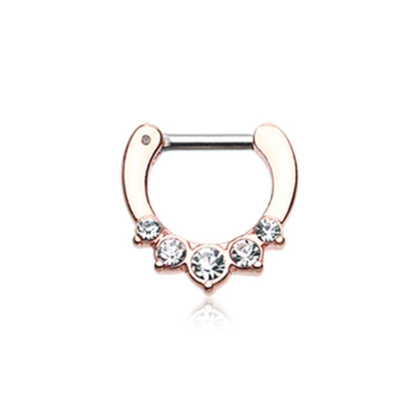 Rose Gold Multi-Gem Precia WildKlass Septum Clicker-WildKlass Jewelry
