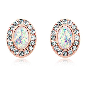 Rose Gold Opal Elegance WildKlass Ear Stud Earrings-WildKlass Jewelry