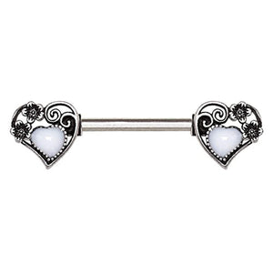 316L Stainless Steel Steampunk Heart WildKlass Nipple Bar-WildKlass Jewelry