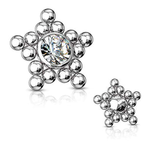 WildKlass CZ Center Ball Clusters Star Internally Threaded 316L Surgical Steel Dermal Top-WildKlass Jewelry