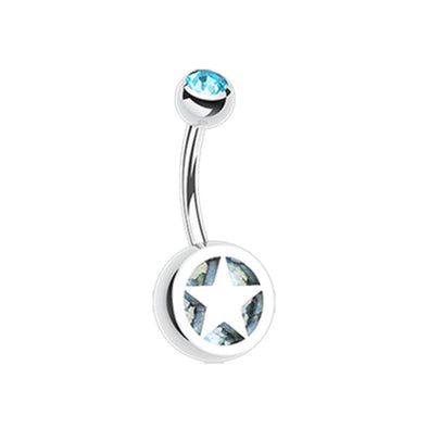 Star Holographic Glitter Inlay Steel WildKlass Belly Button Ring-WildKlass Jewelry