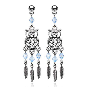 Guardian Owl Dreamcatcher Feather WildKlass Earring-WildKlass Jewelry