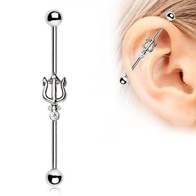 316L Stainless Steel Jeweled Trident of Poseidon WilKlass Industrial Barbell-WildKlass Jewelry