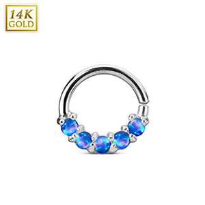 2426e3906 14Kt. White Gold Lined Opal Set Bendable WildKlass Septum/Cartilage Rings-WildKlass  Jewelry