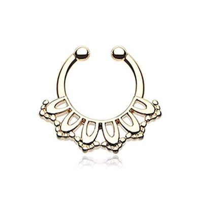 Golden Kaltik Filigree WildKlass Fake Septum Clip-On Ring-WildKlass Jewelry
