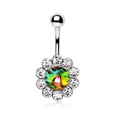 316L Stainless Steel Vitrail Medium Flower WildKlass Navel Ring-WildKlass Jewelry