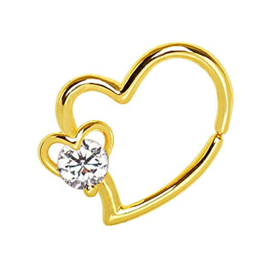 Gold Plated Heart WildKlass Cartilage Earring with Jeweled Heart-WildKlass Jewelry