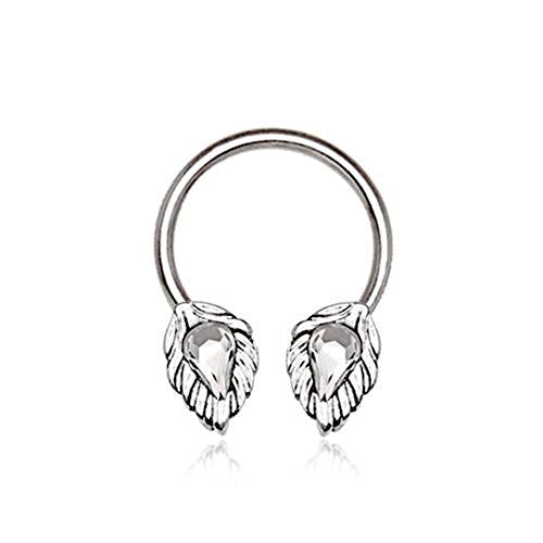 316L Stainless Steel WildKlass Silver Plated Jeweled Leaf Horseshoe-WildKlass Jewelry