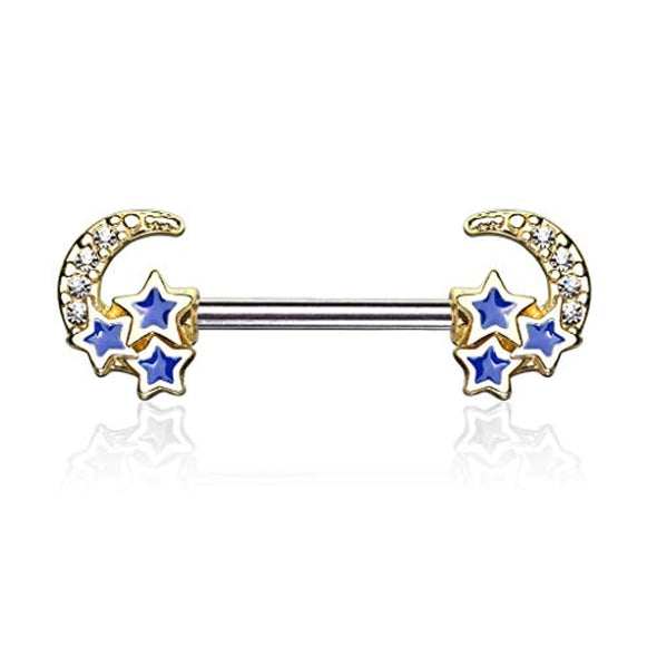 WildKlass CZ Paved Crescent Moon with 3 Blue Stars 316L Surgical Steel Nipple Barbell Rings-WildKlass Jewelry