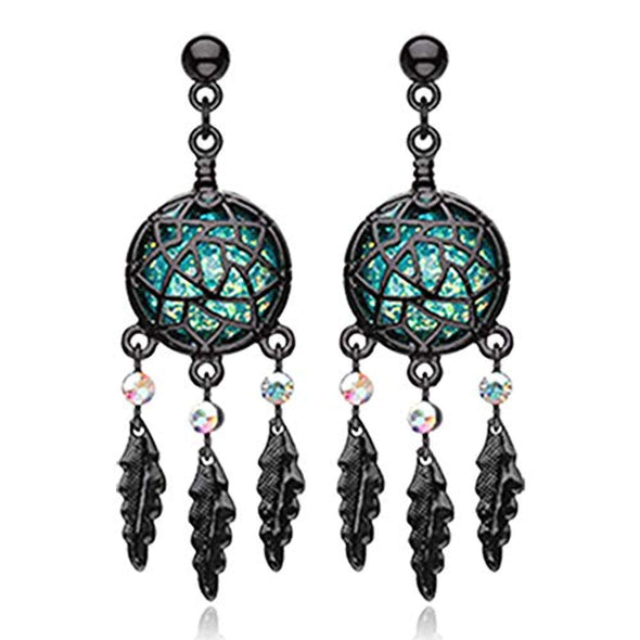 Blackline Opal Dreamcatcher Feather WildKlass Earring-WildKlass Jewelry