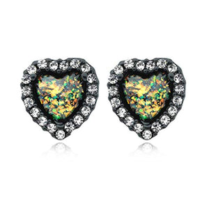 Blackline Beloved Heart Opal WildKlass Ear Stud Earrings-WildKlass Jewelry