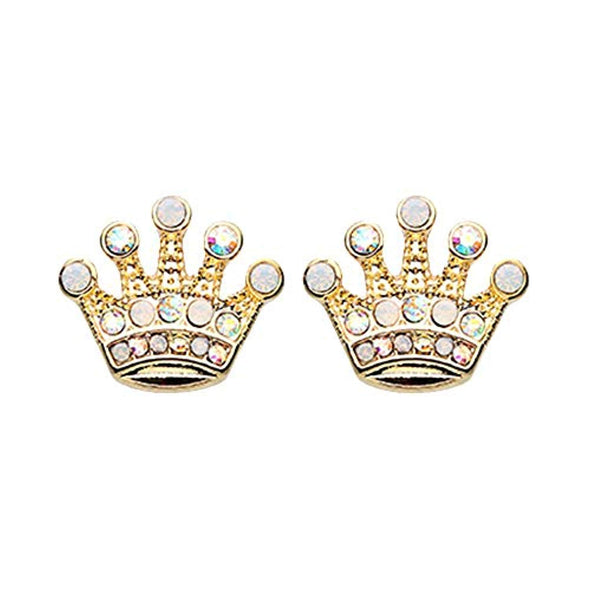 Golden Crown Jewel Multi-Gem WildKlass Ear Stud Earrings-WildKlass Jewelry