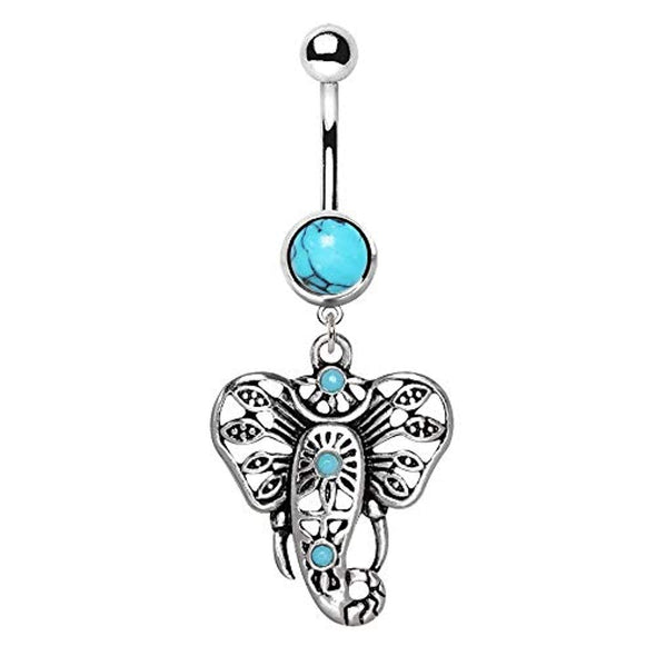 316L Stainless Steel Turquoise Festive Elephant WildKlass Dangle Navel Ring-WildKlass Jewelry