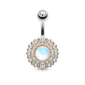 White Revo Reflecting Stone Center Gem Paved Round Flower 316L Surgical Steel WildKlass Belly Button Navel Rings-WildKlass Jewelry