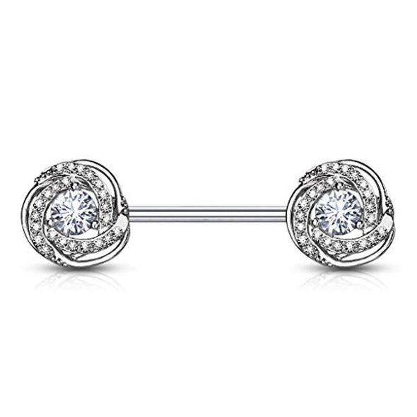 WildKlass CZ Paved with Round CZ Center Rose Blossom Ends 316L Surgical Steel Barbell Nipple Rings-WildKlass Jewelry