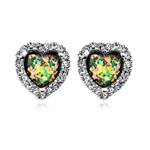Beloved Heart Opal WildKlass Ear Stud Earrings-WildKlass Jewelry