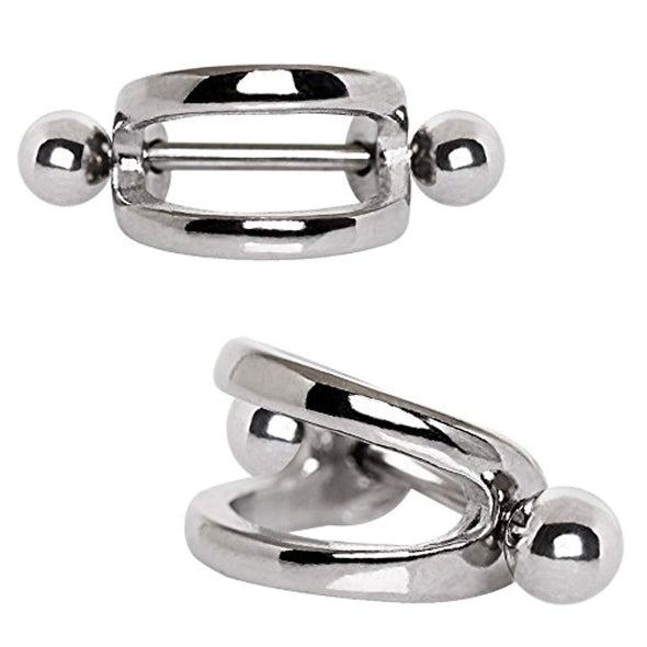 316L Stainless Steel Double Line WildKlass Cartilage Cuff Earring-WildKlass Jewelry