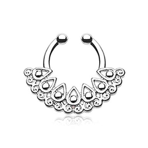 Arioso Filigree WildKlass Fake Septum Clip-On Ring-WildKlass Jewelry