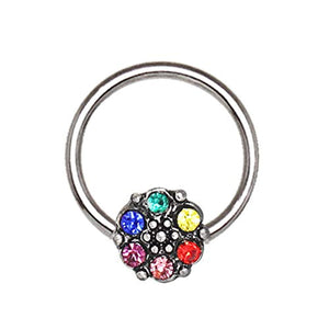 316L Stainless WildKlass Steel Rainbow Flower Snap-in Captive Bead Ring/Septum Ring-WildKlass Jewelry