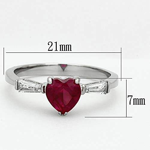 WildKlass Stainless Steel Heart Ring High Polished (no Plating) Women AAA Grade CZ Ruby-WildKlass Jewelry