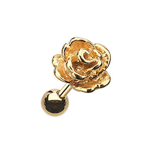 Golden Steel Rose WildKlass Cartilage Tragus Earring-WildKlass Jewelry