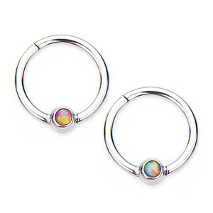 16g Stainless Steel WildKlass Hinged Segment Rings with Opal-WildKlass Jewelry