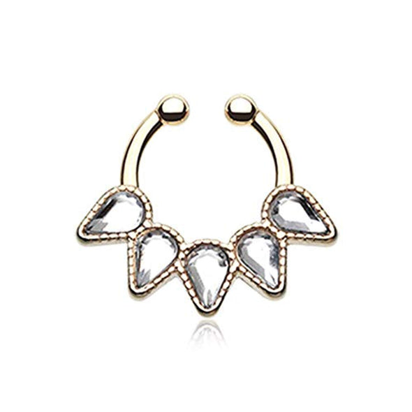 Golden Quinary Spear WildKlass Fake Septum Clip-On Ring-WildKlass Jewelry