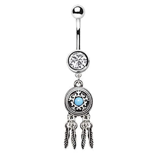 WildKlass 316L Stainless Steel Feather Dream Catcher Dangle Navel Ring-WildKlass Jewelry