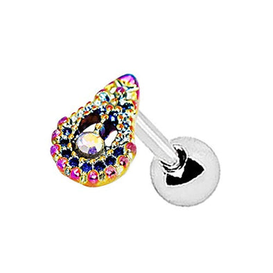 WildKlass 316L Stainless Steel Rainbow PVD Plated Teardrop Cartilage Earring-WildKlass Jewelry