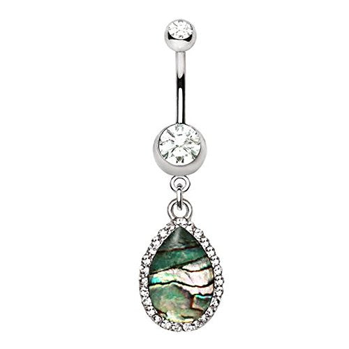 316L Stainless Steel Tear Drop Shaped Jeweled Abalone Dangle WildKlass Navel Ring-WildKlass Jewelry