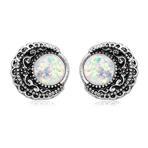 Boho Filigree Moon Opal WildKlass Ear Stud Earrings-WildKlass Jewelry