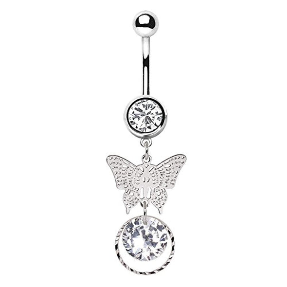 316L Stainless Steel Butterfly Pendant Dangle WildKlass Navel Ring-WildKlass Jewelry