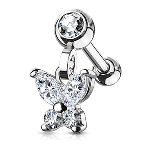 CZ Butterfly Dangle Jeweled Set Ball 316L Surgical Steel WildKlass Ear Cartilage/Tragus Barbell Studs