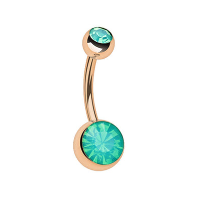 Rose Gold Opalite Double Gem Ball Steel WildKlass Belly Button Ring-WildKlass Jewelry