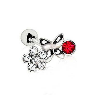 316L Stainless Steel Jeweled Flower Field WildKlass Cartilage Earring-WildKlass Jewelry