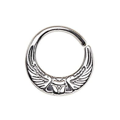 WildKlass 316L Stainless Steel Egyptian Winged Sun Seamless Rings/Cartilage Earrings-WildKlass Jewelry