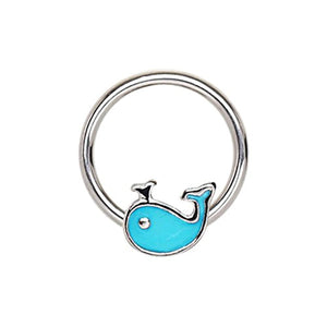 316L Stainless Blue Whale Snap-in WildKlass Captive Bead Ring/Septum Ring-WildKlass Jewelry