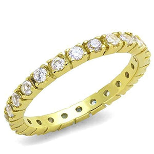 WildKlass Stainless Steel Ring IP Gold(Ion Plating) Women AAA Grade CZ Clear-WildKlass Jewelry