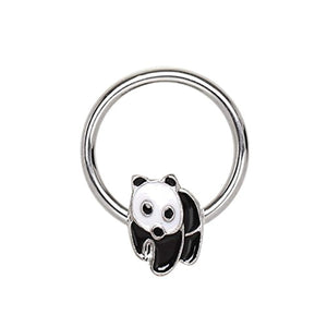 316L Stainless Panda Snap-in WildKlass Captive Bead Ring/Septum Ring-WildKlass Jewelry