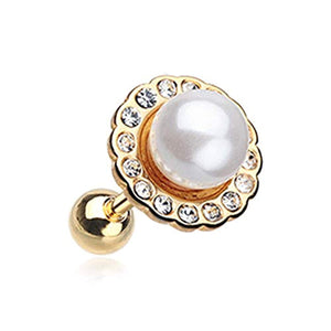 Golden Pearl Blossom Sparkle WildKlass Cartilage Tragus Earring-WildKlass Jewelry