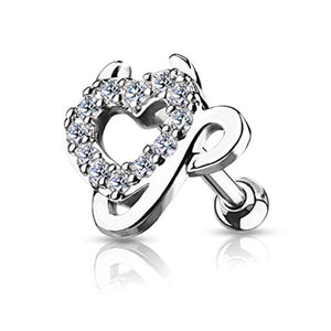 CZ Paved Devil Heart Top 316L Surgical Steel WildKlass Ear Cartilage/Tragus Barbell Stud Rings