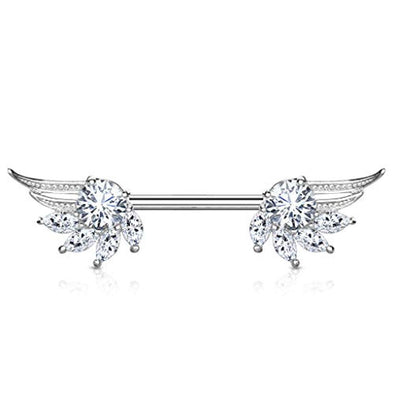WildKlass Round and Marquise CZ Prong Set Angel Wings Ends 316L Surgical Steel Nipple Barbell Rings-WildKlass Jewelry