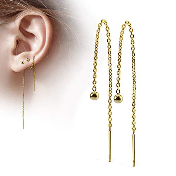Pair of Chained Free Falling 3mm Ball and WildKlass Bar Stainless Steel Earring-WildKlass Jewelry