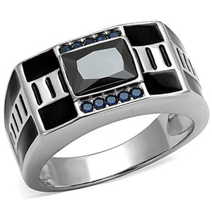 WildKlass Stainless Steel Ring High Polished (no Plating) Men AAA Grade CZ Black Diamond-WildKlass Jewelry