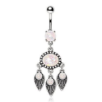 316L Stainless Steel Native Feather Wind Chime WildKlass Navel Ring with Synthetic Opal-WildKlass Jewelry