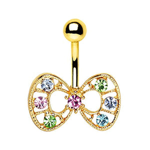 Gold Plated Fancy Multi-Jeweled WildKlass Bow Navel Ring-WildKlass Jewelry