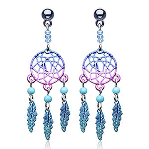Dreamcatcher Feather WildKlass 316L Surgical Steel Earring-WildKlass Jewelry